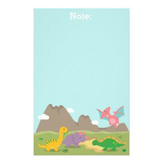 Dinosaurios coloridos lindos para los niños papelería personalizada