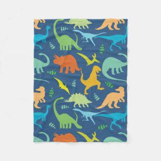 Dinosaurios coloridos manta de forro polar