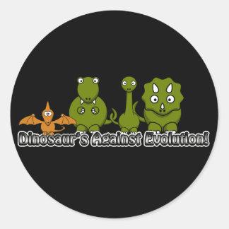Dinosaurios contra la evolución pegatina redonda