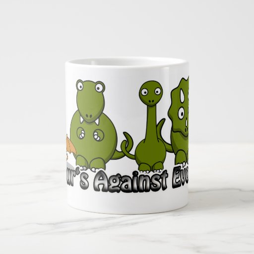 Dinosaurios contra la evolución taza jumbo