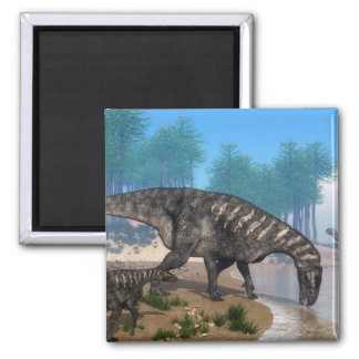 Dinosaurios de Iguanodon Imán Cuadrado