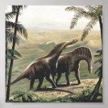 Dinosaurios del Amargasaurus del vintage con los á Posters