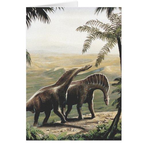 Dinosaurios del Amargasaurus del vintage con los á Felicitación