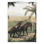 Dinosaurios del Amargasaurus del vintage con los Tarjeta De Felicitación