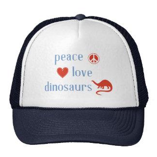 Dinosaurios del amor de la paz gorros bordados
