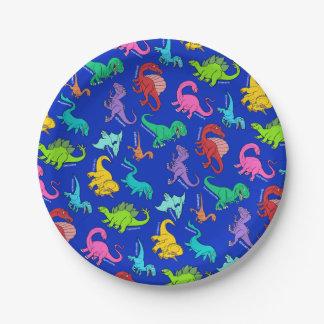 Dinosaurios del arco iris platos de papel