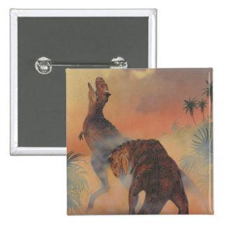 Dinosaurios del Carnotaurus del vintage que rugen Pin Cuadrado