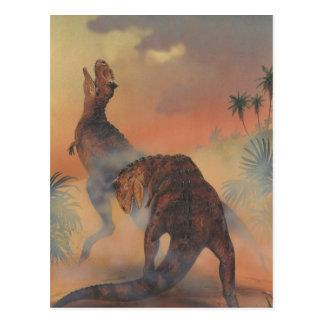 Dinosaurios del Carnotaurus del vintage que rugen Postal