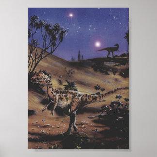 Dinosaurios del Dilophosaurus del vintage en una Poster