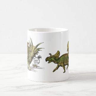 Dinosaurios del equipo del libro de recuerdos de taza básica blanca