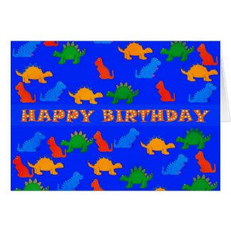 Dinosaurios del feliz cumpleaños del muchacho del