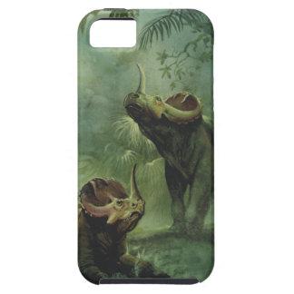 Dinosaurios del vintage, Centrosaurus en la selva iPhone 5 Carcasas