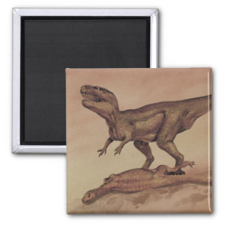 Dinosaurios del vintage, Giganotosaurus que come Imán Cuadrado