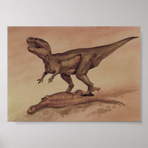 Dinosaurios del vintage, Giganotosaurus que come Póster