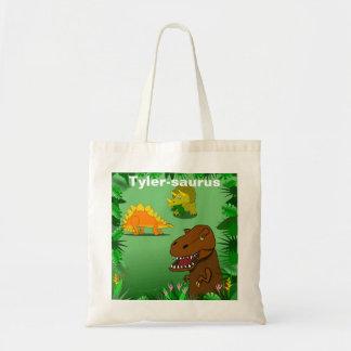 Dinosaurios en el bolso reutilizable personalizado bolsa tela barata