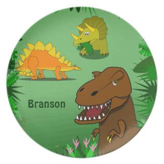 Dinosaurios en la cena conocida personalizada plato