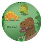 Dinosaurios en la cena conocida personalizada selv plato de cena