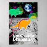 Dinosaurios en la impresión del poster de la luna