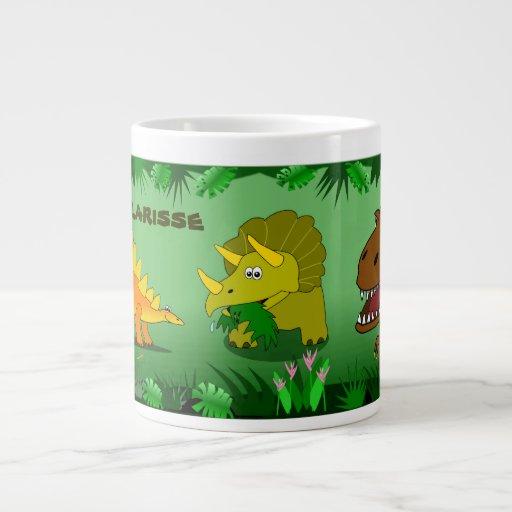 Dinosaurios en la taza enorme conocida de encargo  taza grande