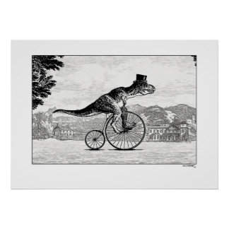 Dinosaurios en las bicicletas - T-Rex Póster