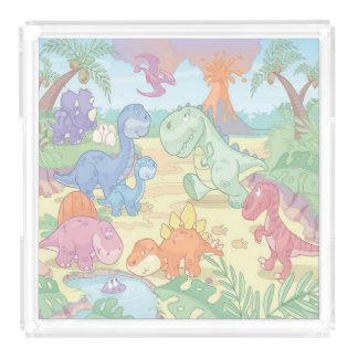 Dinosaurios infantiles de la bandeja/del dibujo bandeja cuadrada