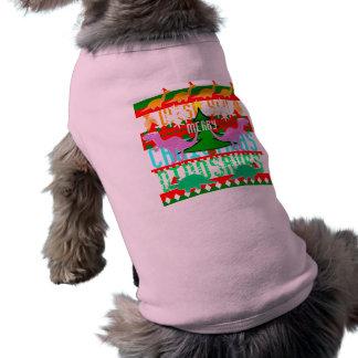 Dinosaurios lindos del navidad del modelo feo del  playera sin mangas para perro