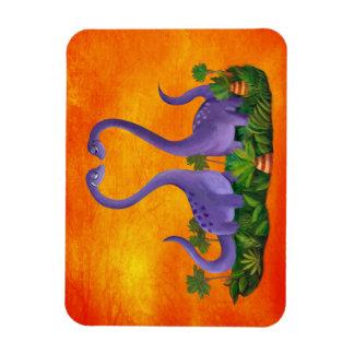 Dinosaurios lindos y románticos imanes de vinilo