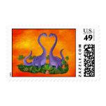 Dinosaurios lindos y románticos sellos