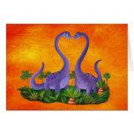 Dinosaurios lindos y románticos tarjetas
