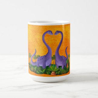 Dinosaurios lindos y románticos tazas de café