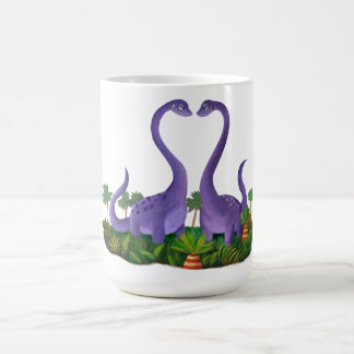 Dinosaurios lindos y románticos taza