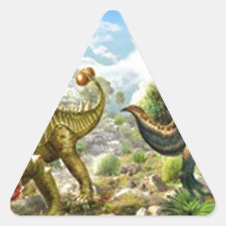 Dinosaurios que luchan Anklosaurus y Tyrannosaurus Pegatina Triangular