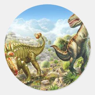 Dinosaurios que luchan Anklosaurus y Tyrannosaurus Pegatina Redonda