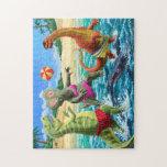 Dinosaurios que se divierten el jugar de voleibol  puzzles con fotos