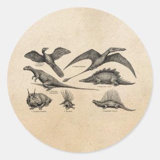 Dinosaurios retros del ejemplo del dinosaurio del pegatina redonda