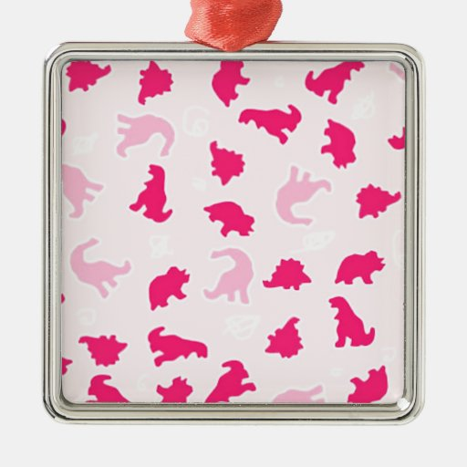 dinosaurios rosados adorno navideño cuadrado de metal