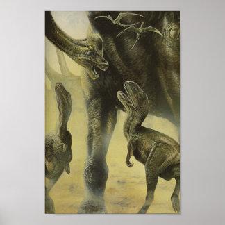 Dinosaurios, Torvosaurus y Brachiosaurus del Póster