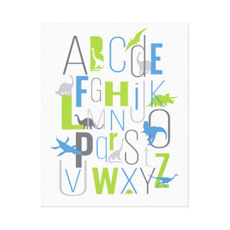 Dinosaurs Alphabet ABC Letters Canvas Wall Art