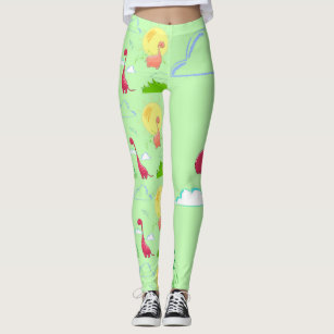 208d55291e5bb Dinosaurs and Clouds Hand Drawn Leggings Green