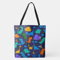 Dinosaurs At Night Blue Orange Green Pattern Tote Bag
