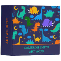 Dinosaurs At Night Colorful Kids Personalized  3 R 3 Ring Binder