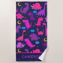 Dinosaurs At Night Pink Purple Girls Personalized Beach Towel