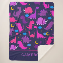 Dinosaurs At Night Pink Purple Girls Personalized Sherpa Blanket