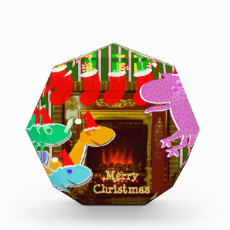 Dinosaurs by Fireplace Merry Christmas Decoration Acrylic Award