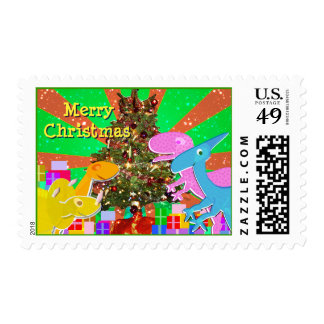 Dinosaurs by the Christmas Tree Postage Stamps