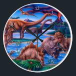 "Dinosaurs Clock<br><div class=""desc"">Dinosaurs artwork by Gail Gastfield.</div>"