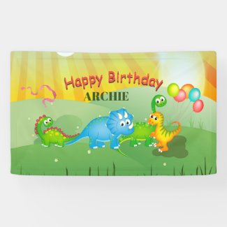 Dinosaurs Colorful Balloons Kids Green Birthday Banner