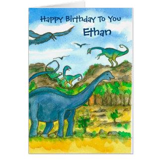 Dinosaurs Custom Name Happy Birthday Card