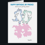 """DINOSAURS DANCING CARD<br><div class=""""desc"""">Two happy,  if somewhat forgetful,  dinosaurs do a birthday dance together.</div>"""