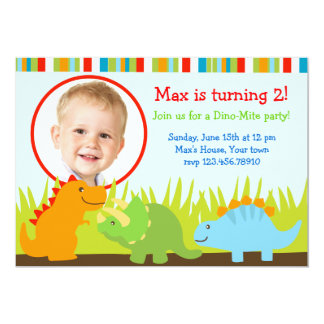 Dinosaurs Dino Photo Birthday Party Invitations